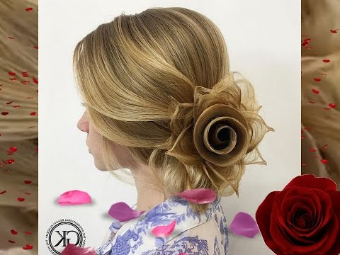 Rose Petals Hairstyle@Georgiykot – Youtube Pertaining To Most Up To Date Rolled Roses Braids Hairstyles (View 24 of 25)