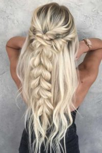 Stylish Prom Hairstyles Half Up Half Down Intended For Recent Loose Highlighted Half Do Hairstyles (View 7 of 25)