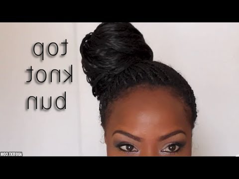 Top Knot Bun On Single Braids – Youtube Pertaining To Latest Braided Top Knot Hairstyles (View 3 of 25)