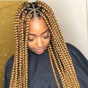 Triangle Box Braids Styles We Adore! Pertaining To Most Popular Pancaked Side Braid Hairstyles (View 25 of 25)