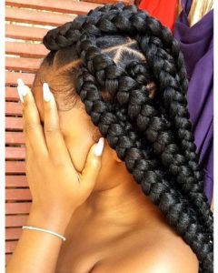 Triangle Box Braids Styles We Adore! Within Most Popular Light Pink Semi Crown Braid Hairstyles (View 4 of 25)