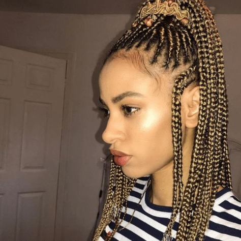 Unique Cornrows Hairstyles For Ladies For Excellent Looks With 2020 Chic Black Braided High Ponytail Hairstyles (View 15 of 25)