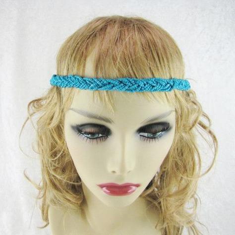 Vintage Blue Beaded Headband, Braided Hair Accessories In 2020 Hippie Braid Headband Hairstyles (View 23 of 25)