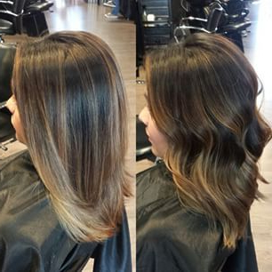 2015 Brunette Highlights Lowlights Straight – Google Within Balayage Highlights For Long Bob Hairstyles (View 21 of 25)