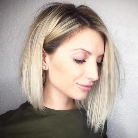 25 Short Straight Blonde Hairstyles 2017 – 2018 In Ash Blonde Balayage For Short Stacked Bob Hairstyles (View 16 of 25)