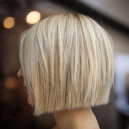 25 Short Straight Blonde Hairstyles 2017 – 2018 Inside Blunt Cut Blonde Balayage Bob Hairstyles (View 12 of 25)