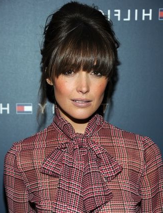 33 Beautiful And Latest Updo Hairstyles With Bangs 2015 Within Lob Hairstyles With A Face Framing Fringe (View 20 of 25)