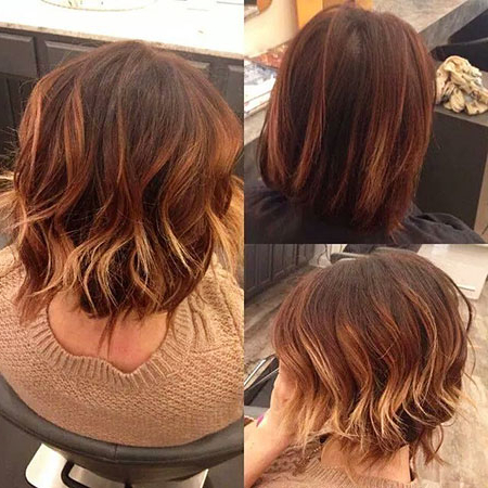 35 Short Ombre Hairstyles Throughout Dimensional Dark Roots To Red Ends Balayage Hairstyles (View 15 of 25)