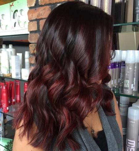 45 Shades Of Burgundy Hair: Dark Burgundy, Maroon Inside Burgundy Balayage On Dark Hairstyles (View 7 of 25)