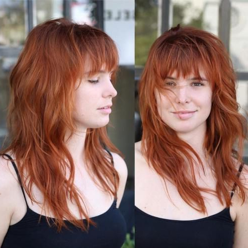 50 Cute And Effortless Long Layered Haircuts With Bangs Regarding Full Fringe And Face Framing Layers Hairstyles (View 24 of 25)