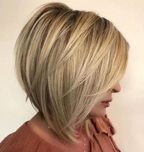 50 Trendy Inverted Bob Haircuts | Medium Bob Hairstyles In Warm Balayage On Short Angled Haircuts (View 7 of 25)
