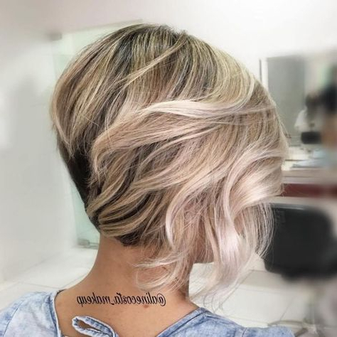 50 Trendy Inverted Bob Haircuts (With Images) | Blonde With Caramel Blonde Balayage On Inverted Lob Hairstyles (View 8 of 25)