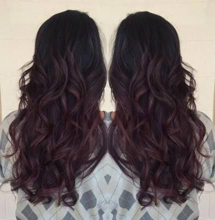 51 Trendy Nails Red Wine Burgundy #Burgundyombrehair Throughout Burgundy Balayage On Dark Hairstyles (View 4 of 25)