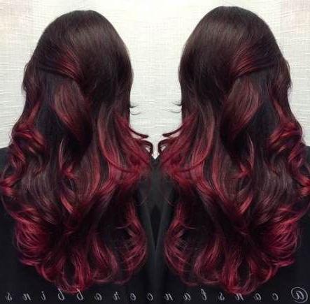 65+ Ideas Hair Red Dark Burgundy Violets For 2019 #Hair In Burgundy Balayage On Dark Hairstyles (View 3 of 25)