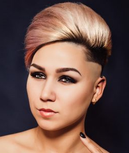 70 Brilliant Half Shaved Head Hairstyles For Young Girls Pertaining To Half Bob Half Pixie Hairstyles With Cool Blonde Balayage (View 19 of 25)