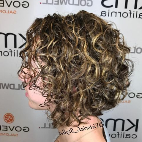 Angled Curly Blonde Balayage Bob | Curly Bob Hairstyles Intended For Warm Balayage On Short Angled Haircuts (View 20 of 25)