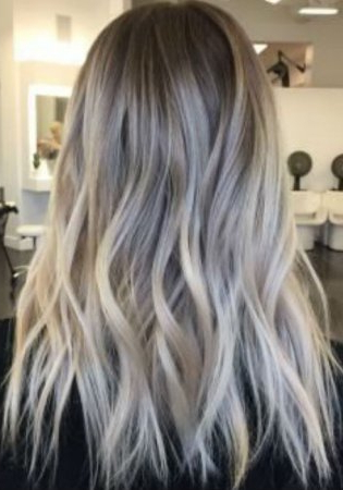 Ash Blonde Balayage And Silver Ombre Hair Color Ideas 2017 Pertaining To Ash Blonde Balayage Ombre On Dark Hairstyles (View 13 of 25)