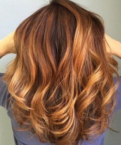 Auburn Balayage Curls Auburn Hair | Hair Color Auburn For Caramel Blonde Balayage On Inverted Lob Hairstyles (View 9 of 25)