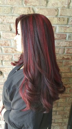 Balayage / Red Highlights / Dark Hair / Long Hair In Black Hairstyles With Brown Highlights (View 18 of 25)
