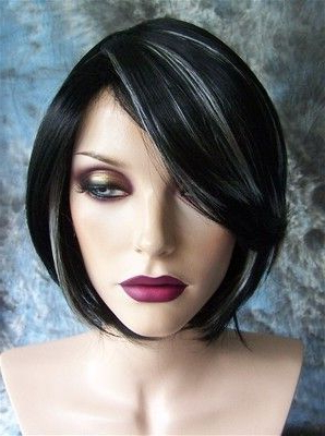 Black With White Highlights Short Wig Wigs | Gray Hair With Regard To Black Hairstyles With Brown Highlights (View 25 of 25)