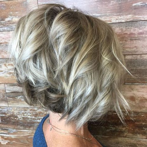Blonde Balayage Bob With Angled Layers | Bob Hairstyles Inside Warm Balayage On Short Angled Haircuts (View 2 of 25)