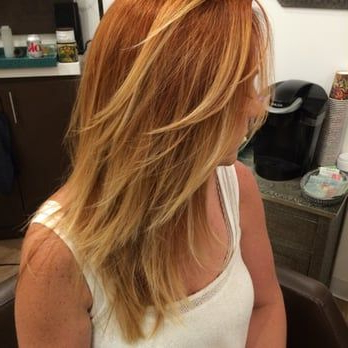 Blonde Balayage On Dyed Copper Red Hair, With Long Layers Throughout Bright Red Balayage On Short Hairstyles (View 15 of 25)
