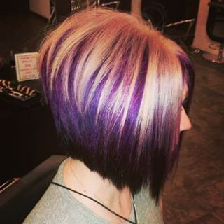 Blonde Bob With Purple Highlights – Google Search   Hair Throughout Short Brown Hairstyles With Subtle Highlights (View 21 of 25)