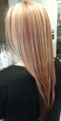 Blonde Hair With Red Paneled Lowlights (View 24 of 25)