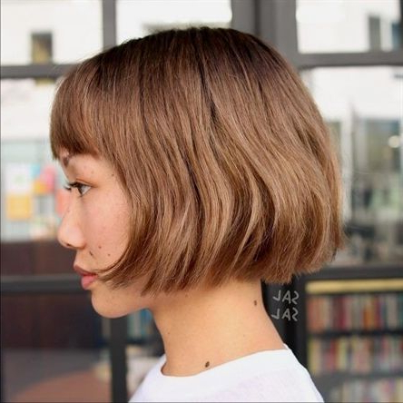 Blunt Chin Length Bob With Bangs— Those With A Round With Regard To Blunt Bob Hairstyles With Face Framing Bangs (View 6 of 25)