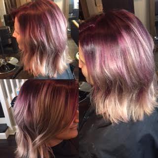Bright Purple To Blonde Balayage | Blonde Balayage, Long Pertaining To Bright Red Balayage On Short Hairstyles (View 9 of 25)