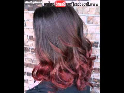 Burgundy Ombre For Medium Length Black Hair – Youtube In Burgundy Balayage On Dark Hairstyles (View 21 of 25)