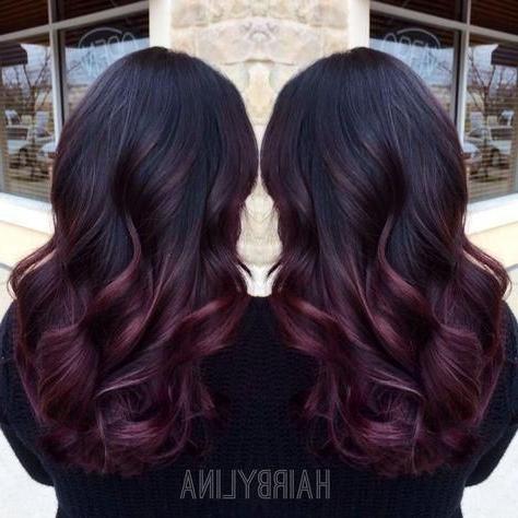 Burgundy Ombre On Instagram @ Mirror Mirror Onthewall In Burgundy Balayage On Dark Hairstyles (View 16 of 25)