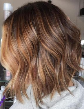 Caramel And Chocolate Balayage Bob Hairstyles 2018 Within Caramel Blonde Balayage On Inverted Lob Hairstyles (View 6 of 25)