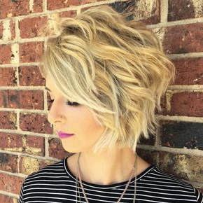 Choppy Blonde Bob With Messy Waves | Short Shag Hairstyles Throughout Warm Balayage On Short Angled Haircuts (View 15 of 25)