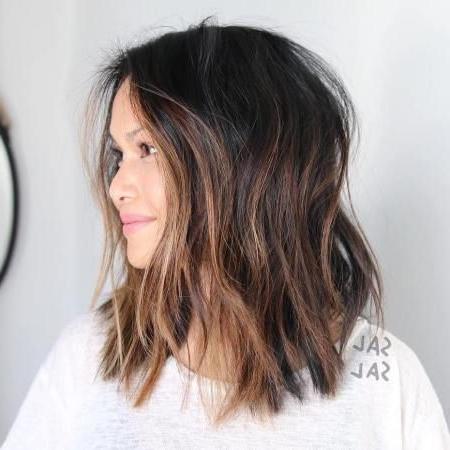 Choppy Caramel Balayage Lob | Balayage Hair, Short Hair With Regard To Caramel Blonde Balayage On Inverted Lob Hairstyles (View 12 of 25)