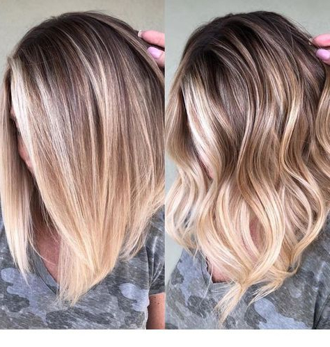 Curly Or Straight Haistyle (With Images) | Balayage With Regard To Caramel Blonde Balayage On Inverted Lob Hairstyles (View 24 of 25)