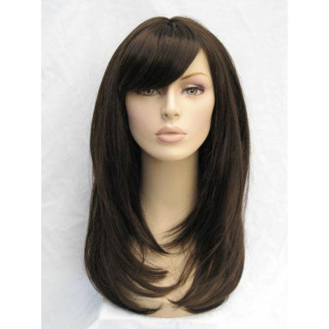 Dark Brown Wig, Layered Face Frame Style: Lucy : Long Wigs For Lob Hairstyles With A Face Framing Fringe (View 19 of 25)