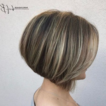 Dishwater Blonde Stacked Bob With Highlights In 2020 Inside Shaggy Bob Hairstyles With Blonde Balayage (View 13 of 25)