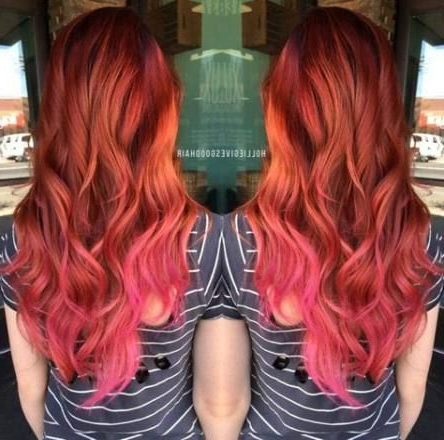 Hair Red Pink Ombre 61+ Ideas | Strawberry Hair Color With Marsala To Strawberry Blonde Ombre Hairstyles (View 10 of 25)