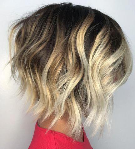 Jagged And Angled Blonde Balayage Bob #Balayagebob In 2020 Pertaining To Warm Balayage On Short Angled Haircuts (View 6 of 25)
