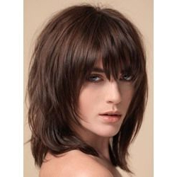 Layered Shag Hairstyle With Full Fringe Middle Length Intended For Full Fringe And Face Framing Layers Hairstyles (View 6 of 25)