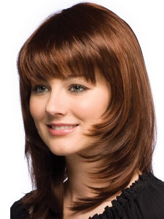 Layered Shoulder Length Straight Human Hair Monofilament Inside Blunt Bob Hairstyles With Face Framing Bangs (View 9 of 25)