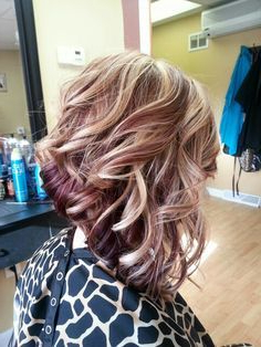 Long Angled Bob With Red And Blonde Hilights/Lowlights For Cool Toned Angled Bob Hairstyles (View 18 of 25)