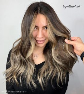 Long Brown Hair With Dark Blonde Face Framing – 20 Best Intended For A Shape Framed Haircuts (View 21 of 25)