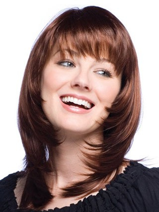 Long Layered Straight Heat Friendly Synthetic Hair Wigs For Blunt Bob Hairstyles With Face Framing Bangs (View 5 of 25)