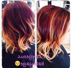Love My New Color! Red And Blonde Balayage Lob Long Bob With Regard To Half Bob Half Pixie Hairstyles With Cool Blonde Balayage (View 15 of 25)