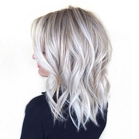 Medium Icy Blonde Hair Color – Blonde Hairstyles 2017 With Blonde Balayage Hairstyles (View 18 of 25)