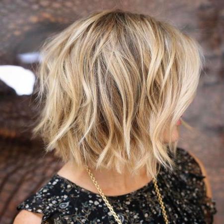 Messy Honey Blonde Balayage Bob   Thick Hair Styles With Cinnamon Balayage Bob Hairstyles (View 3 of 25)