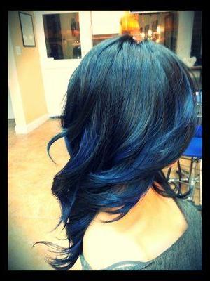 Midnight Blue Balayage Highlights | Hair, Hair Styles In Balayage Highlights For Long Bob Hairstyles (View 16 of 25)