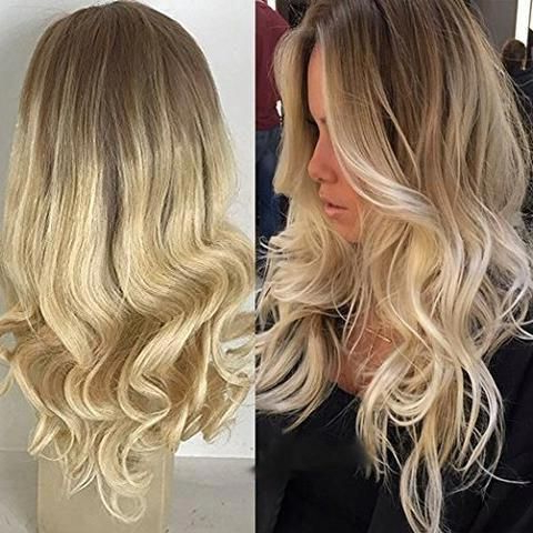 Moresoo Wavy Ombre Color Dark Roots #6 Fading To Blonde Throughout Shaggy Bob Hairstyles With Blonde Balayage (View 15 of 25)